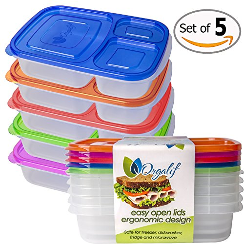 orgalif lunch container for kids 3 comparment reusable plastic bento lunch box set of 5 eat. Black Bedroom Furniture Sets. Home Design Ideas