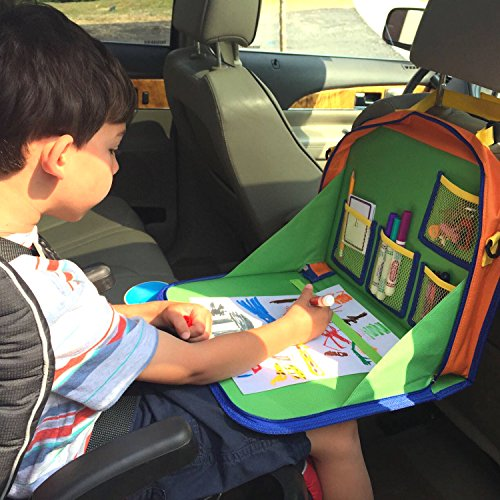 Kids Backseat Organizer Holds Crayons Markers An IPad Kindle Or Other Tablet Great For Road Trips And Travel Used As A Lap Tray Writing Surface